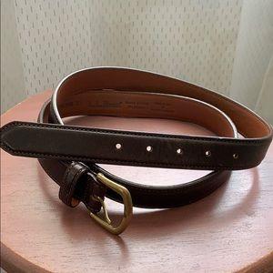 Vintage Men's Leather LL Bean Belt Dark Brown